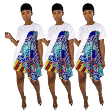 Fashionable loose contrast Ruffle Dress