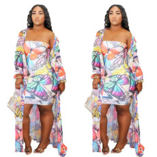 Printed Strapless skirt two piece set