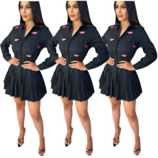 Fashion long sleeve pleated shirt skirt