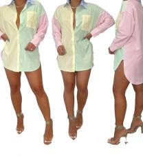Printed block shirt skirt