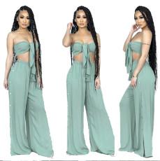 Fashion solid color bra two piece set