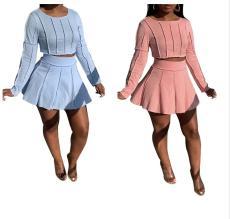 Solid long sleeve skirt set