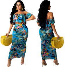 Sexy fashion digital print bra two piece set
