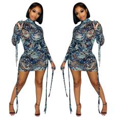 Fashion screen print bandage dress