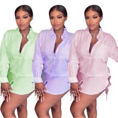Fashion drawstring woven striped shirt