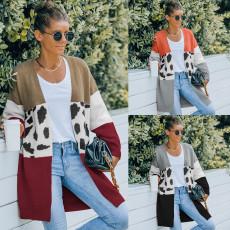 Medium length sweater cardigan coat