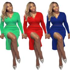 Fashion solid color long sleeve dress set