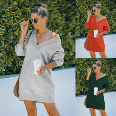 Fashion V-Neck long sleeve knitted dress