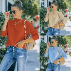 Fashion round neck long sleeve sweater
