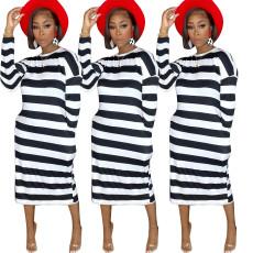 Stripe Print Long Sleeve Dress