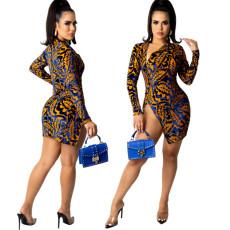 Slim diamond velvet print split dress