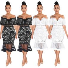 Lace fishtail dress