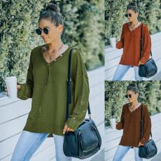 Fashion V-neck loose long sleeve sweater