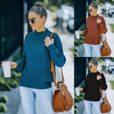 Fashion half high neck long sleeve loose sweater