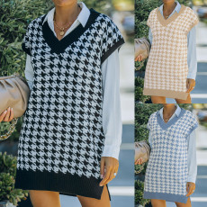 Knitted vest thousand bird check sweater