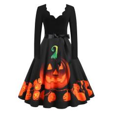 Fashion Halloween funny V-Neck long sleeve dress