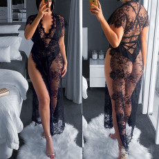 Fashion sexy V-neck perspective lace two piece set