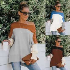 Fashion off shoulder contrast loose sweater