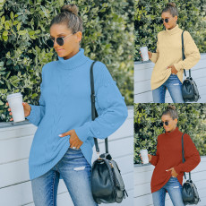 Fashion knitted loose turtleneck sweater
