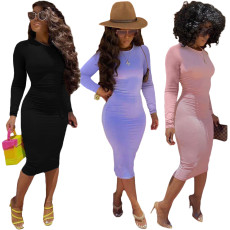 Long sleeve round neck solid Hip Wrap Dress