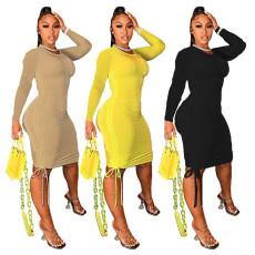 Pleated solid slim dress