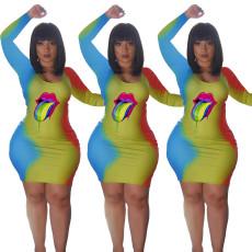 Color printed long sleeve dress