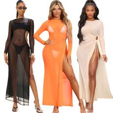Sexy fashion high elastic mesh beach skirt