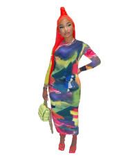 Colorful print sexy dress