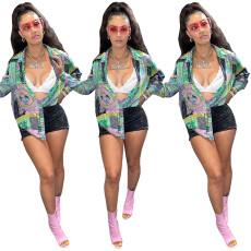 Fashion printed casual loose shirt top
