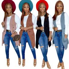 Fashion solid color Lapel sleeveless jacket
