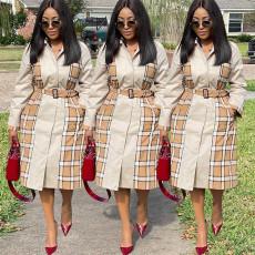 Fashion casual Plaid splicing coat