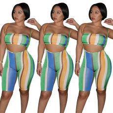 Fashion Sexy Sports suspender shorts two piece set