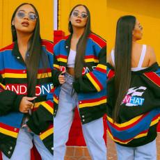 Fashion casual color stripe printed coat