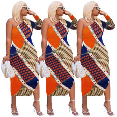 Printed one sleeve dress