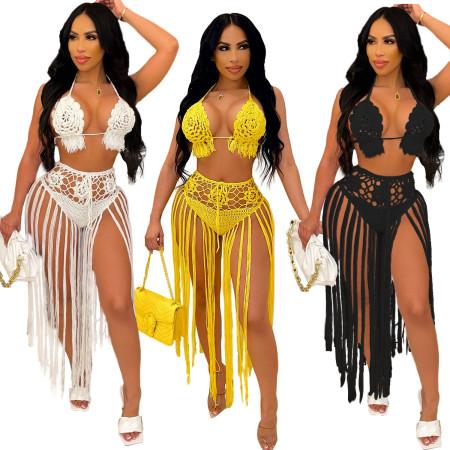 Fashion woven tassel beach skirt two piece set