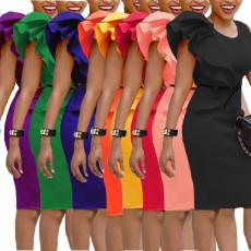 Fashion ear side Hip Wrap Dress