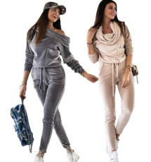 Long sleeved sexy off shoulder casual Jumpsuit