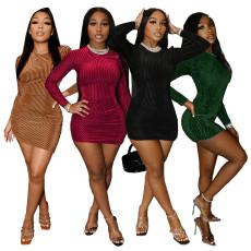 Fashion solid color pit velvet long sleeve dress