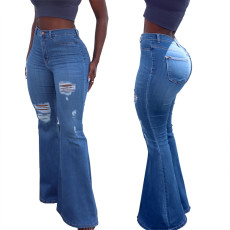 Perforated denim flared pants