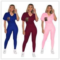 V-neck pants and sweatpants set