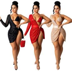 Fashion sexy high split backless dress
