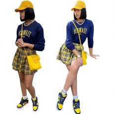 Printed Plaid Pleated Skirt Set