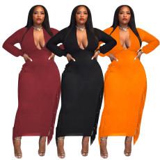 Sexy deep V tassel dress