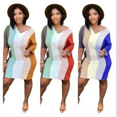 Fashion digital print color contrast pocket dress