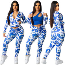 Printed pleated casual sports suit