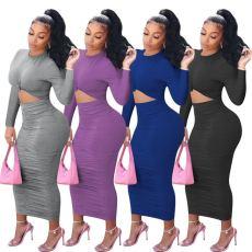 Ruffle bow Long Sleeve Dress