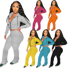 Solid sweater sports Hoodie two piece set