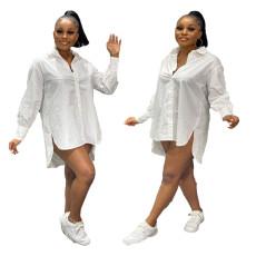 Fashion loose long sleeve shirt slit dress