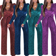V-neck high elastic gold and silver silk Jumpsuit