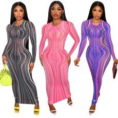 Mesh ripple print sexy dress